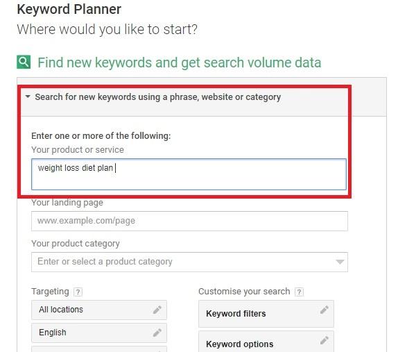 recherche par mots clés google lors de la recherche de produits pour promouvoir Clickbank