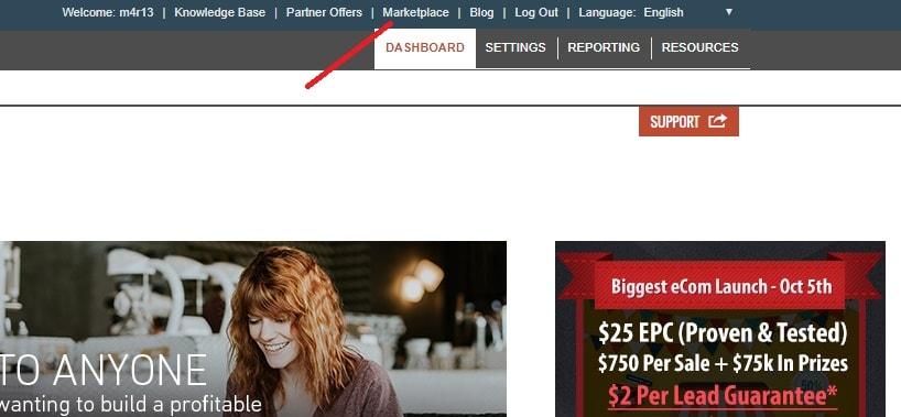 cette image montre le menu du marché clickbank pour le partenaire clickbank qui veut gagner de l'argent avec clickbank
