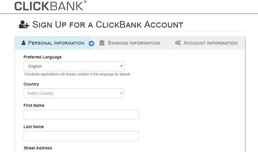l'image montre le formulaire de demande pour le partenaire Clickbank qui veut gagner de l'argent avec Clickbank