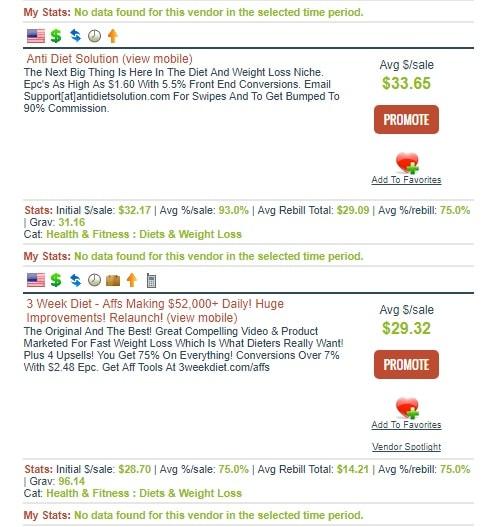 Menu des produits Clickbank pour aider les partenaires Clickbank à choisir le meilleur produit