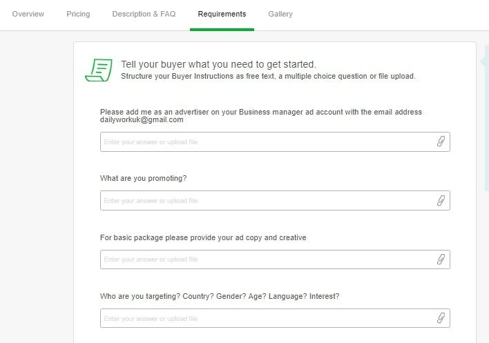 buyer requirements on fiverr