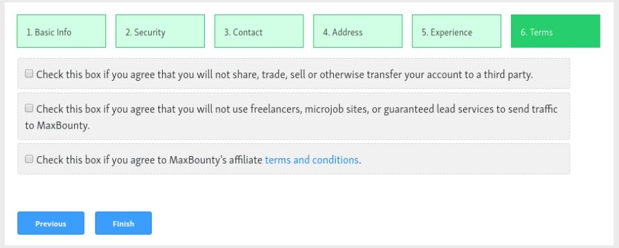 Conditions d'application de l'affiliation maxbounty