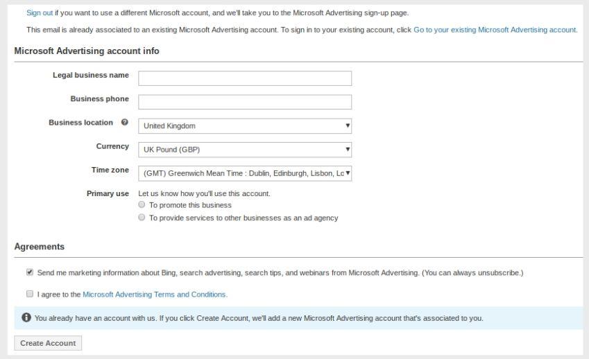 Formulaire de demande de connexion d'annonceur Microsoft