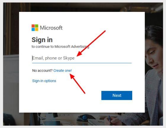 Écran de connexion Microsoft qui affiche la création d'un nouveau compte ou la connexion avec un compte existant